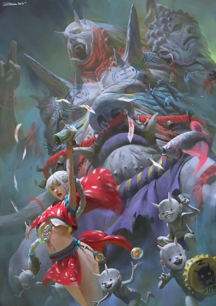 大王召喚 。Summon The King by Zeen Chin on ArtStation.