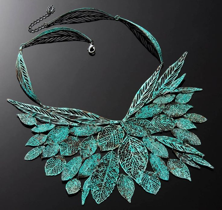 Necklace | Inbar Shahak.  Draw by hand and etched into metal and plated with handmade verdigris colours: