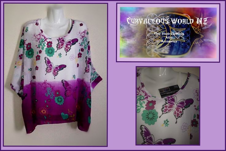 Purple Butterfly Bohemian style Blouse with Batwing sleeves