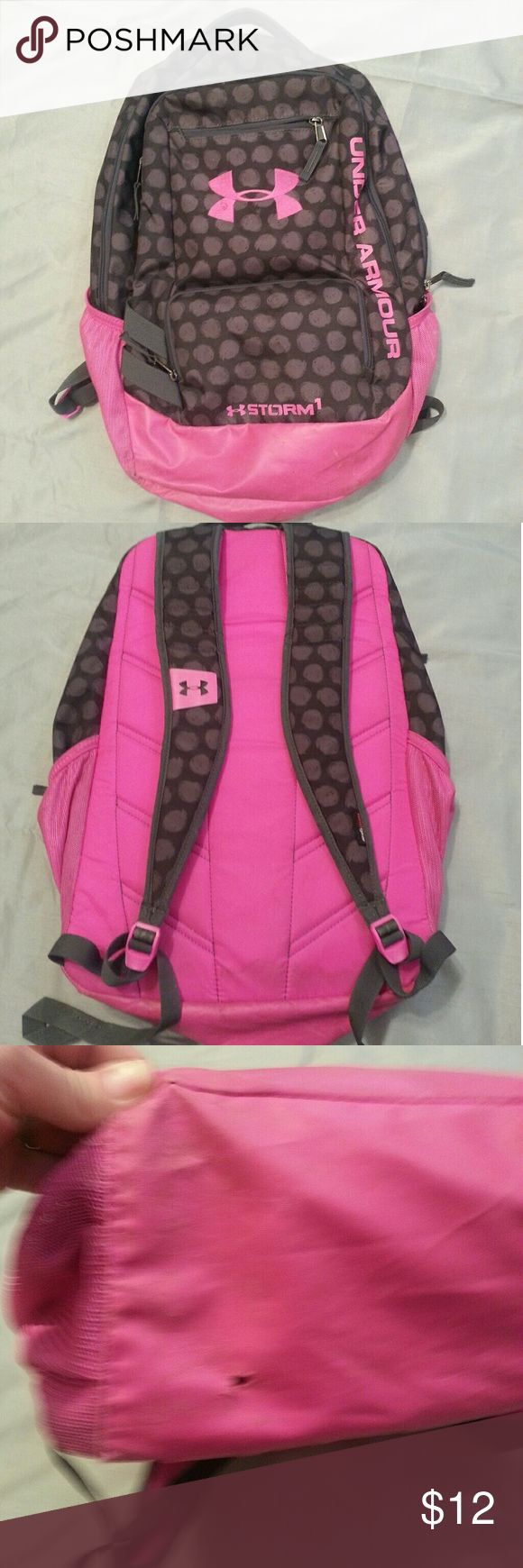 Under Armour backpack GUC pink and black Under Armour back. Some wear on the bottom as shown but the rest of the backpack is in excellent condition. Under Armour Bags Backpacks