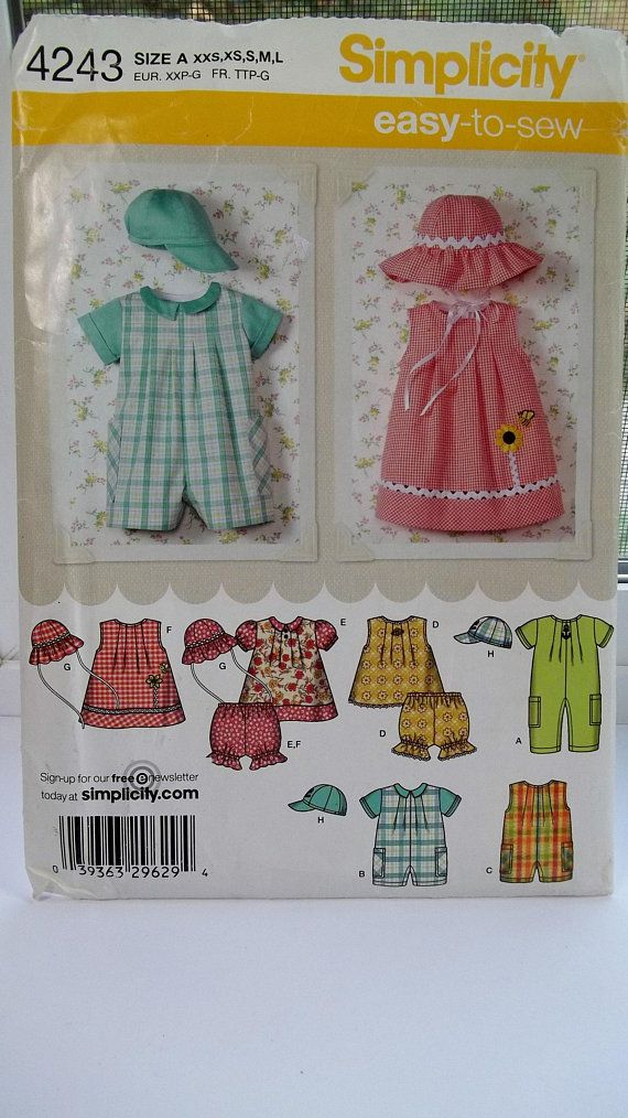 Babies Rompers Simplicity 4243 Sewing Pattern Dress 35b3718220aa