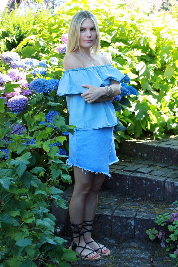 blue Sunday in off-shoulder-top and frayed denim skirt