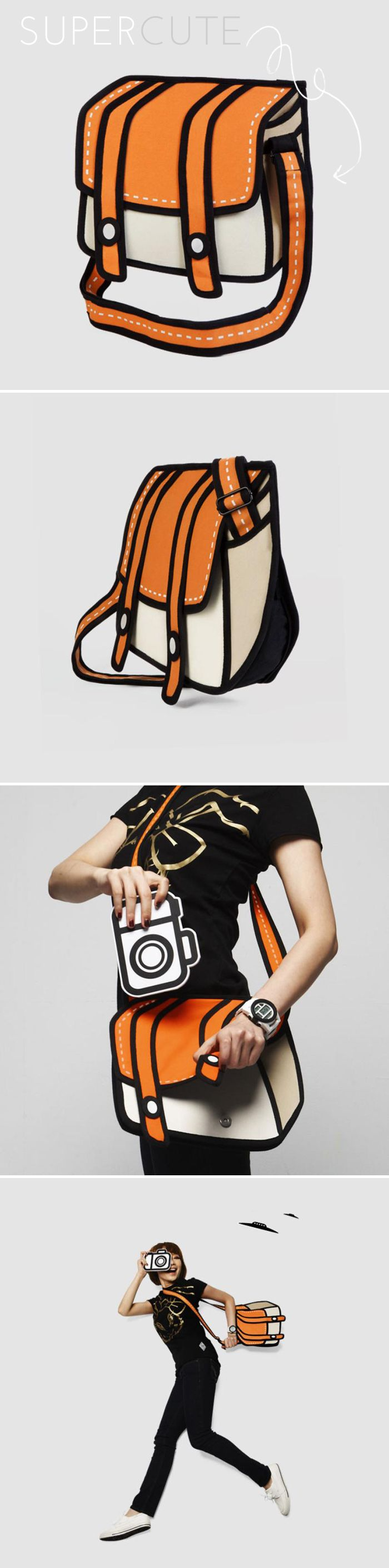 Cartoon bags of AWESOME. Cheese! messenger bag by Jump From Paper