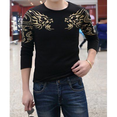 Material: Cotton, Polyester  Sleeve Length: Full  Collar: Round Neck  Style: Casual  Weight: 0.410KG  Package Contents: 1 x T-Shirt  Pattern Type: Print  SizeBustLengthShoulder Width L906442 XL946543 2XL986744 3XL1026945