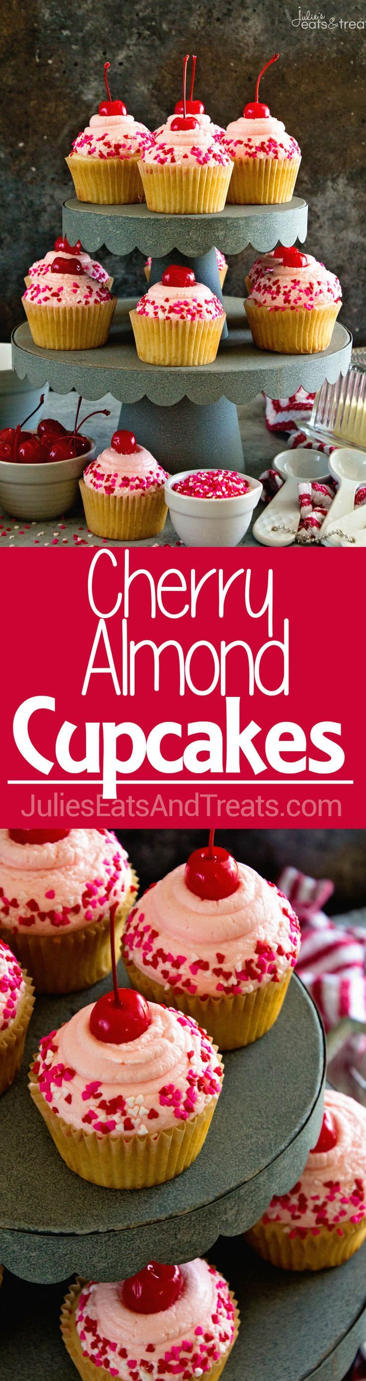 Cherry Almond Cupcakes ~ Light & Fluffy Almond Cupcakes Topped with Cherry Frosting! Perfect for Holidays, Birthdays or Just Because! via /julieseats/