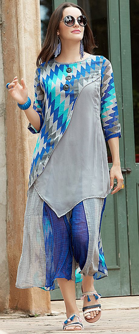 b8c31edaa7b Buy Cool Blue-Gray Designer Printed Georgette Kurti at Rs. 1699 - latest  Partywear Kurti for womens at Ethnic Factory. ✓Genuine Products ✓ Easy  Returns ...