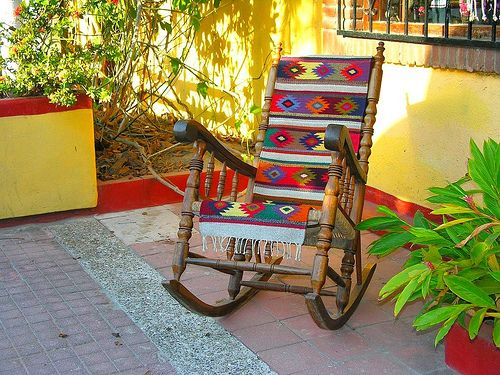 Rocker with Serape for Mexico decorations