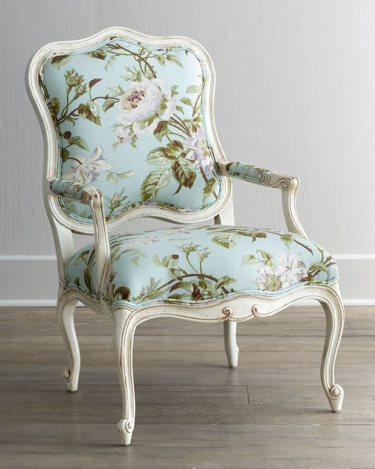 """""""Sky Rose"""" white & powder blue chair with flower pattern from Horchow."""