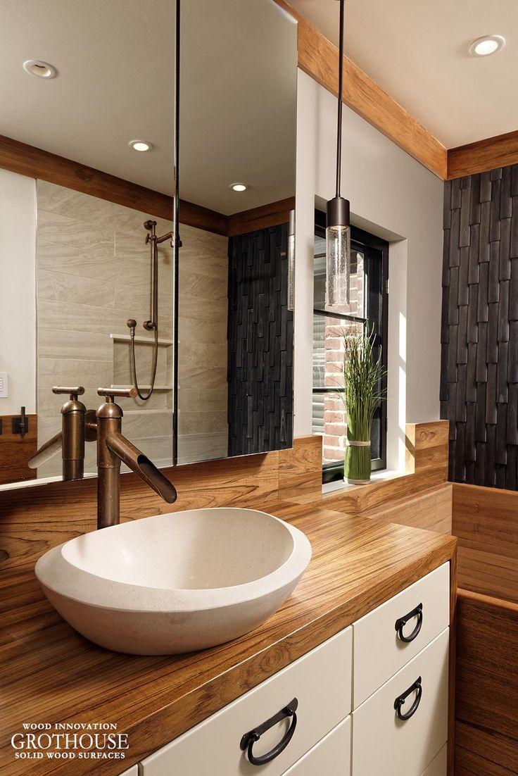 Custom Teak Wood Vanity Top For A Bathroom In Washington Dc
