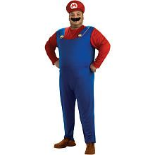 Super Mario Brothers Mario Halloween Costume - Adult Standard Plus One Size