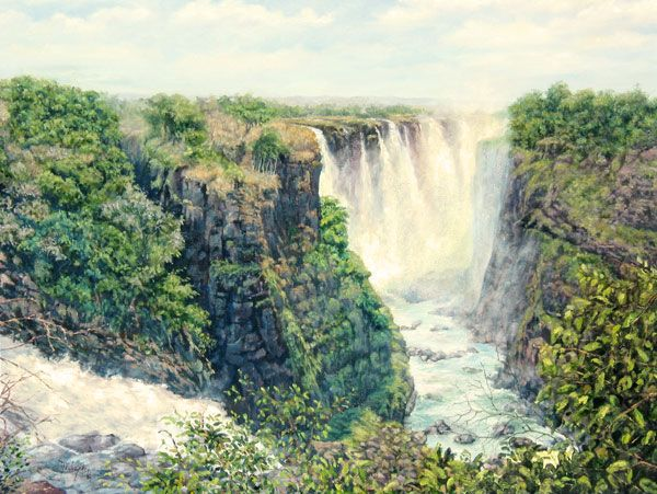 Victoria Falls - view from Devil's Cataract, Zimbabwe. Large oil on canvas painted by Dinah Beaton