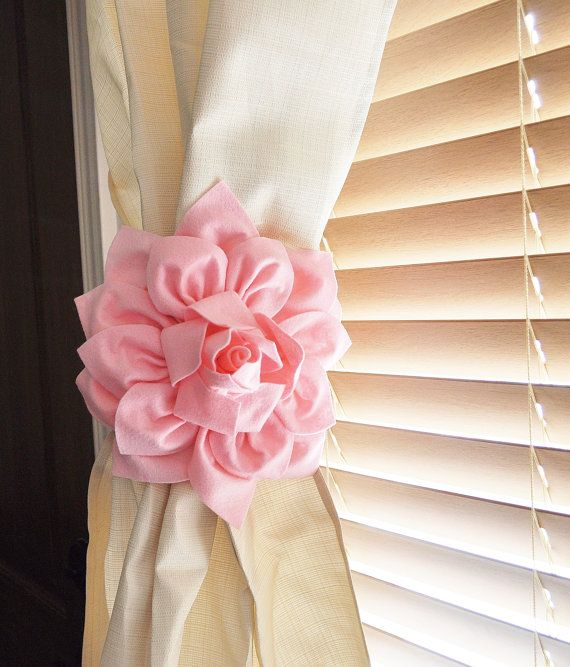 TWO Dahlia Flower Curtain Tie Backs Curtain Tiebacks Curtain Holdback -Drapery Tieback-Baby Nursery Decor-Lilac Decor on Etsy, $36.00