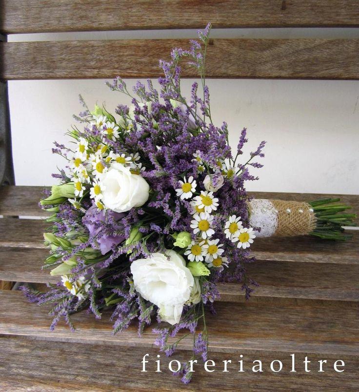 Fioreria Oltre/ Bridal bouquet/ Limonium, chamomile, lisianthus