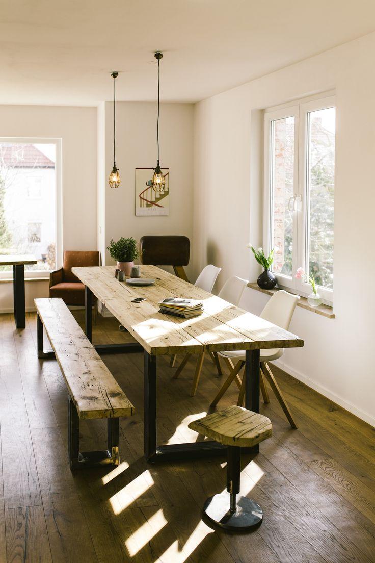 esstisch konferenztisch xxl industriedesign industrie design tisch recyceltes altholz industrial loft massivholztisch mobel wohnzimmer
