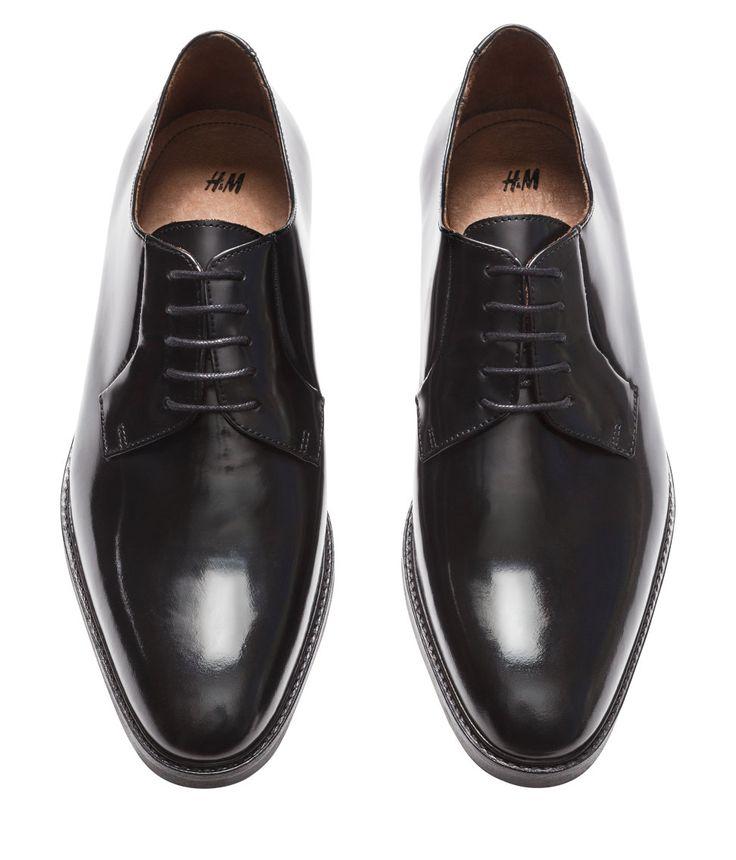Black derby shoes in premium-quality leather, with open laces & rubber soles.   H&M Men's Classics