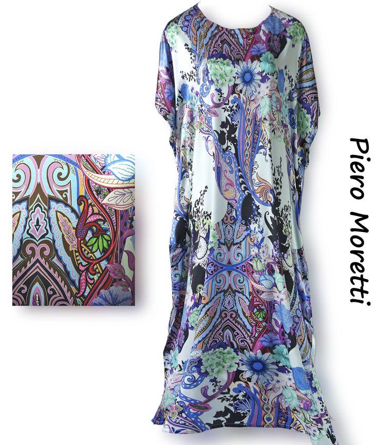 Шёлковое летнее платье в пол  Коллекция Piero Moretti, Лето 2015  Код: 2879   Состав ткани: 95% шелк, 5% эластан  Размеры: 58, 60  Цвет: сине голубой  Цена: 27850 руб.  Прекрасная находка итальянского дизайнера. Платье, которое будет уместно в самых ответственных и торжественных случаях, и которое можно надеть и просто на работу, и которое будет замечательно выглядеть  в моменты отдыха. Для полных дам предусмотрено всё, что сделает пребывание в платье комфортным, приятным и радостным.