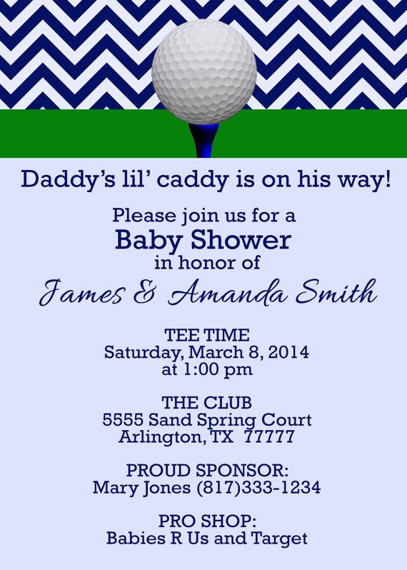 Daddy's Little Caddy Golf Baby Shower Invitation