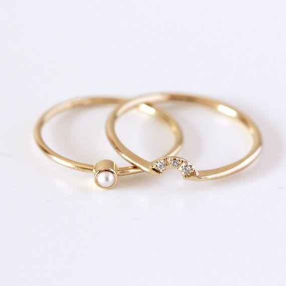 Bruiloft Set Pearl Ring & Crown diamantring 14 k goud door artemer