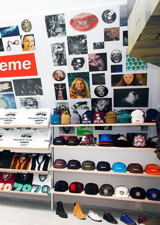Supreme store, streetwear visual merchandising inspiration