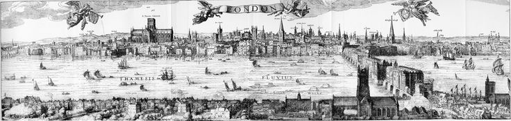 The 'Visscher panorama' is an engraving by Claes Visscher (1586-1652) depicting a panorama of London. It shows an imagined view of London in around 1600. The engraving was first published in Amsterdam in 1616.