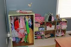 Cardboard-- wardrobe box & diaper boxes. So cute for dramatic play at home.