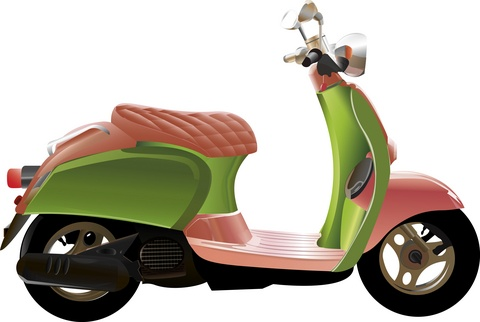 pink ane green Honda scooter