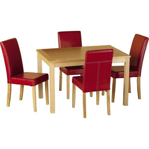 Oakmere Dining Table And 4 Red Chairs.