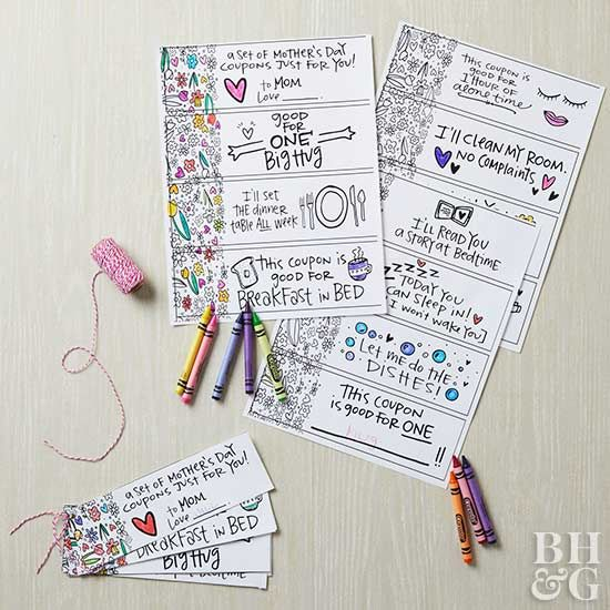 Mother's Day coupons are the perfect gift. Put together a handmade gift for mom with our free Mother's Day coupons. Simply print, color, and cut! We've got coupons your mom will love like setting the table, doing the dishes, and sleeping in. This last-minute Mother's Day gift is guaranteed to make her smile.