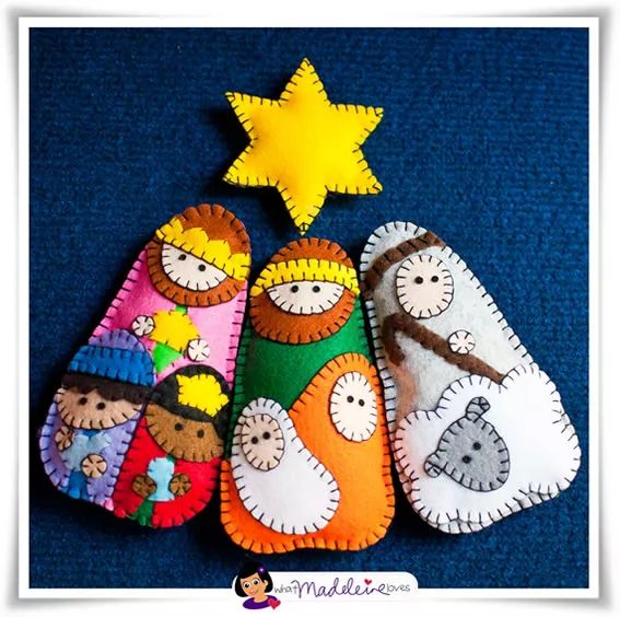 Moldes de presépio em feltro para enfeite natalino