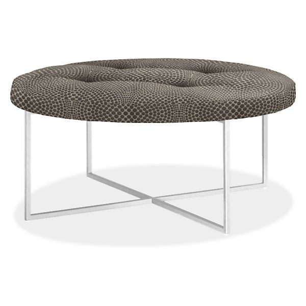 Sidney Modern Round Ottomans - Modern Fabric & Leather Ottomans - Modern Living Room Furniture - Room & Board