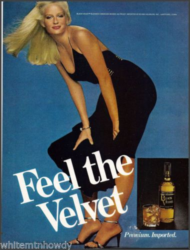 1980 Black Velvet Canadian Whisky Whiskey Ad Blond w Butt in The Air High Heels | eBay