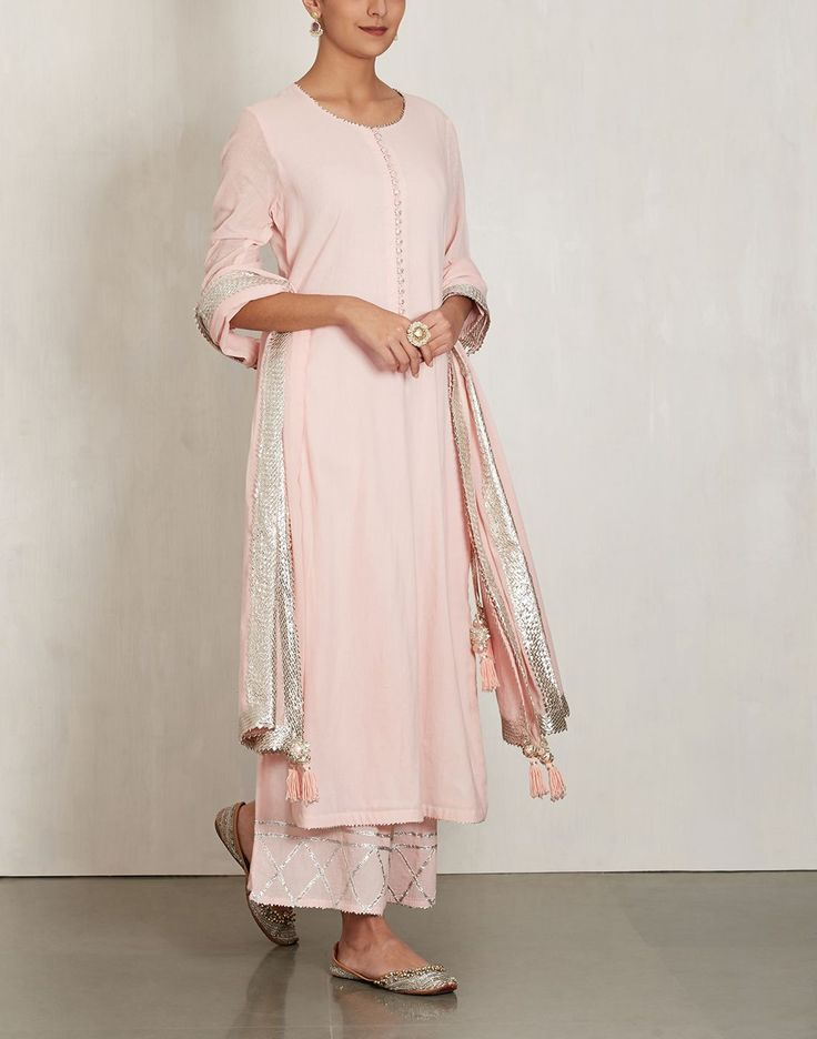 Baby Pink Cotton Mul Kurta Set