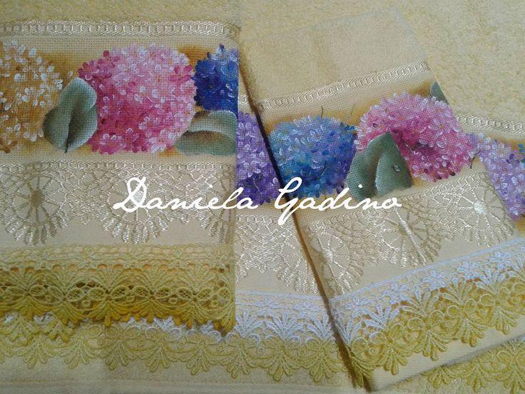 Jogo de toalhas Pintura em Tecido / Towel fabric painting