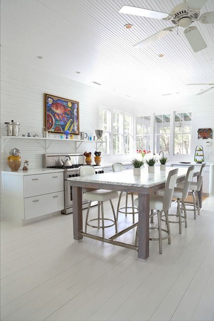 """A piece with a built-in-quality top. Even RENTERS can have the satisfaction of """"renovating"""" the kitchen with this neat trick: Buy a portable piece with a luxurious surface, like marble, copper or zinc, instead of the usual butcher block top. A breakfast table, baker's rack or kitchen island would all work well."""