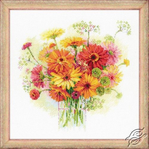 Watercolour Gerberas - Cross Stitch Craft Kits by RIOLIS - 1485