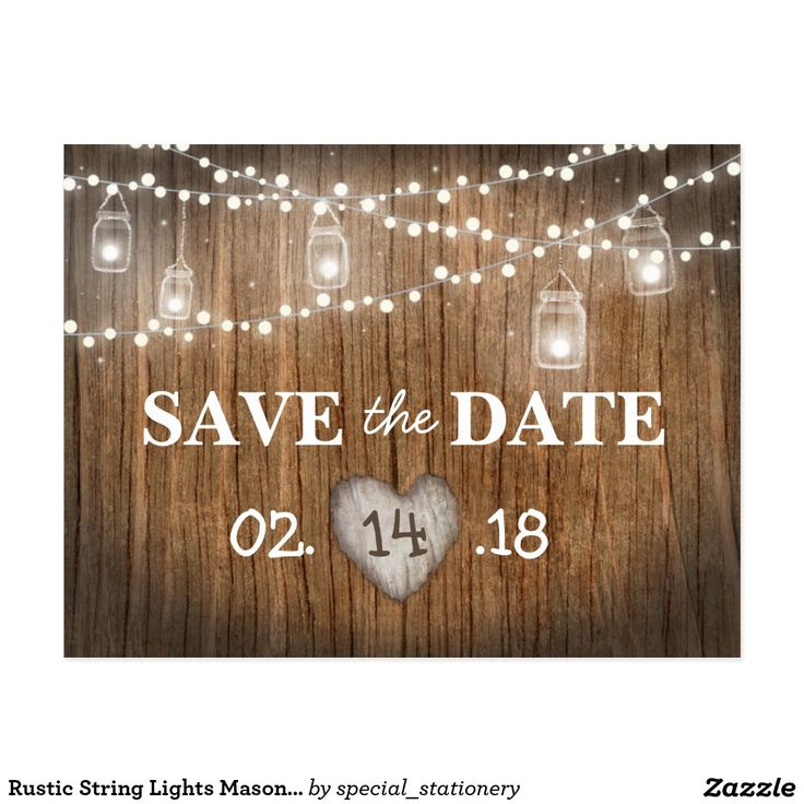 rustic string lights mason jar wood save the date postcard rustic country wedding save the date