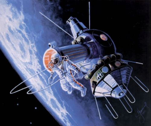 fyeahcosmonauts:  Another painting by Alexei Leonov, of his first spacewalk from Voskhod 2 in 1965