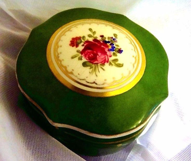 Meissen Trinket Box - Floral Porcelain Dresser / Jewelry Box Green ca. 1930 #ArtNouveau
