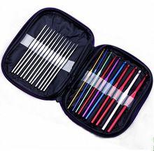 22 unids nueva Multicolor Metal Crochet Hook barbudo agujas Set con el caso herramienta de bricolaje coser pines de la gota(China (Mainland))
