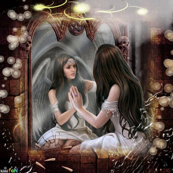 ReflectionsMirrors Image, Gothic Art, Fantasy Art, Digital Art, Fallen Angels, Anne Stokes, Angels Wings, Magic Mirrors, Mirrors Mirrors