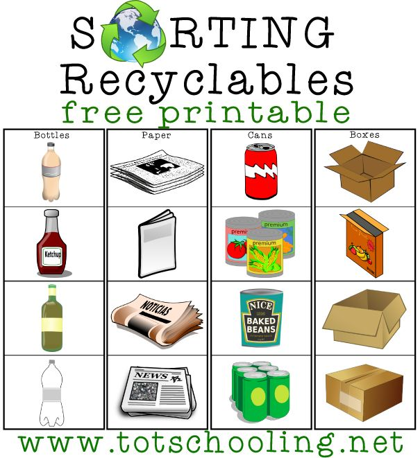 Sorting Recyclables Free Printable | Totschooling - Toddler and Preschool Educational Printable Activities