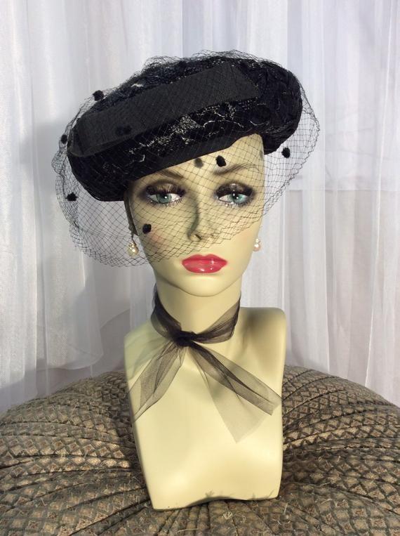 1930 S Vintage Black Wide Brim Hat With Veil 22 Etsy Black Wide Brim Hat Wide Brim Hat Hat With Veil