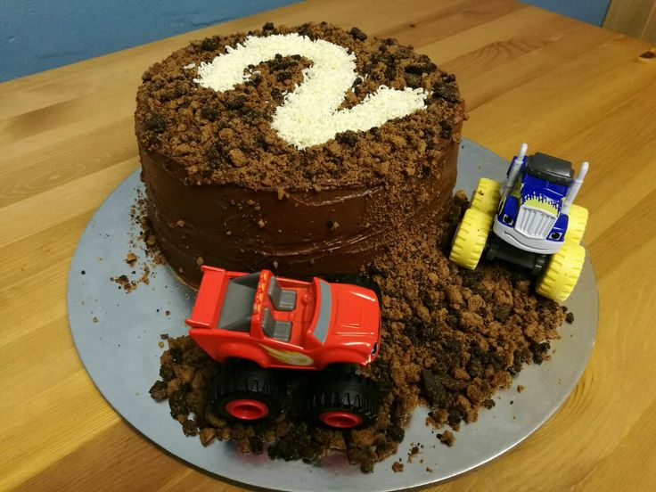 My son's 2nd birthday cake. Chocolate rubble with Blaze and Crusher
