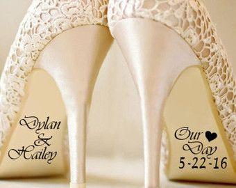 Nome e data matrimonio scarpa Sticker adesivi sposa e di DinkiDs
