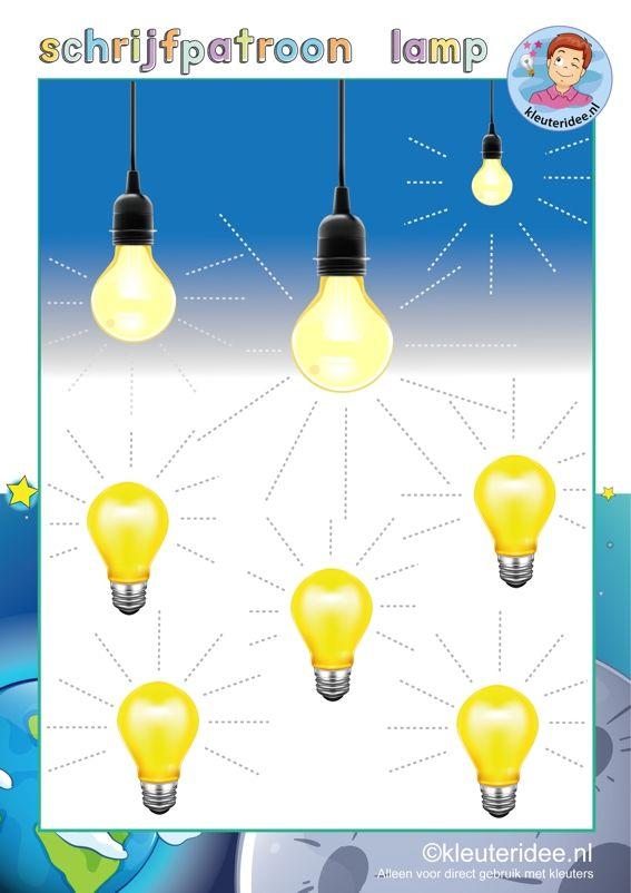 Schrijfpatroon lamp, thema 'Raar maar waar', thema natuur & techniek voor kleuters, kinderboekenweek 2015, kleuteridee, free printable.