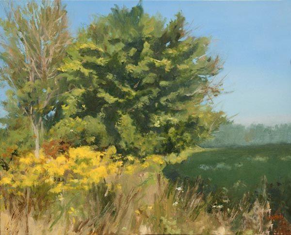"Denise Antaya - A study in Greens - 8"" x 10"" Oil on prepared birch panel"