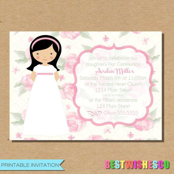 Invitación imprimible primera comunión invitación invitación imprimible niña comunión invitación rosa primera comunión invitación Digital archivo