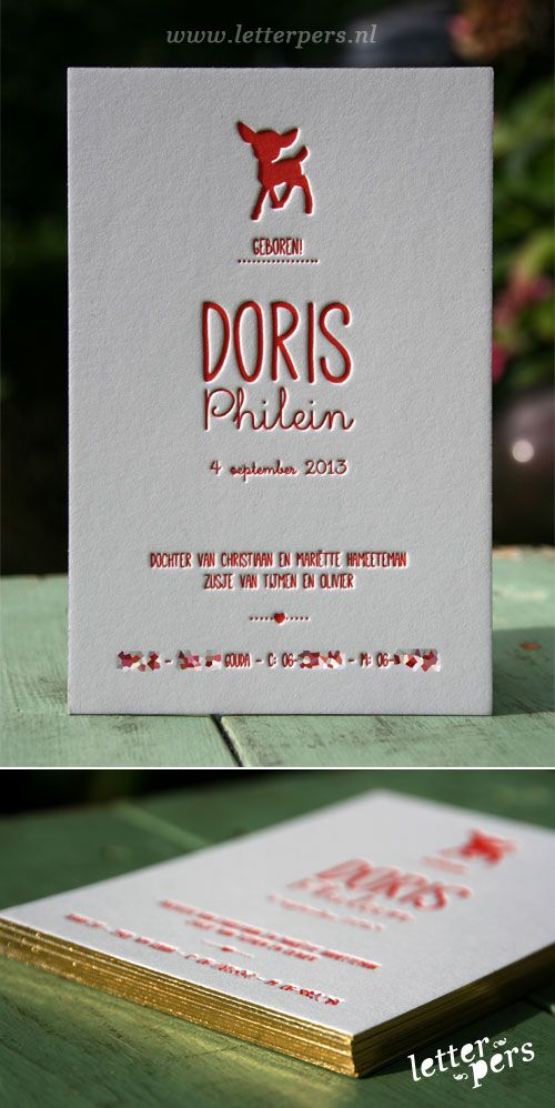 letterpers_letterpress_geboortekaartje_Doris_rood_hertje_preeg_lief
