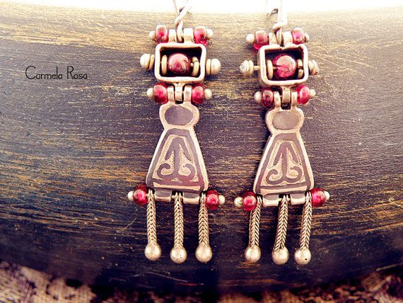 Ruby earrings Greek jewelry sterling silver by CarmelaRosa on Etsy