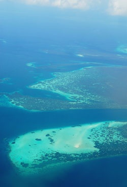 Wakatobi reef atoll, viewed from above. www.sunnyindonesia.com.